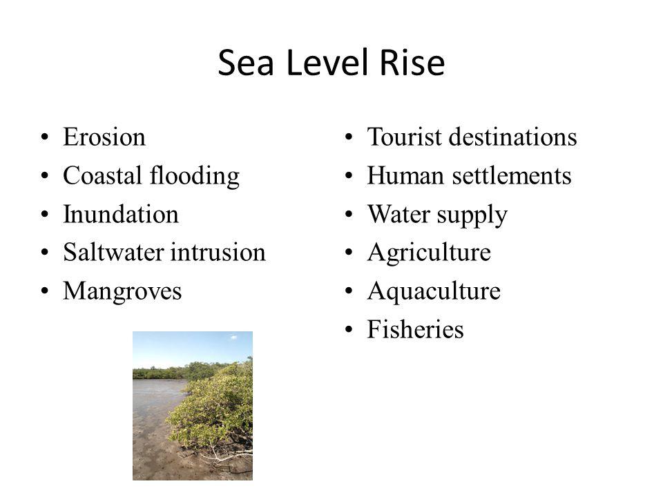 Sea Level Rise Erosion Coastal flooding Inundation Saltwater intrusion