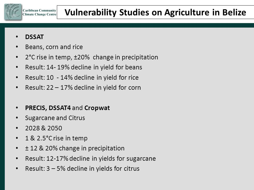Vulnerability Studies on Agriculture in Belize
