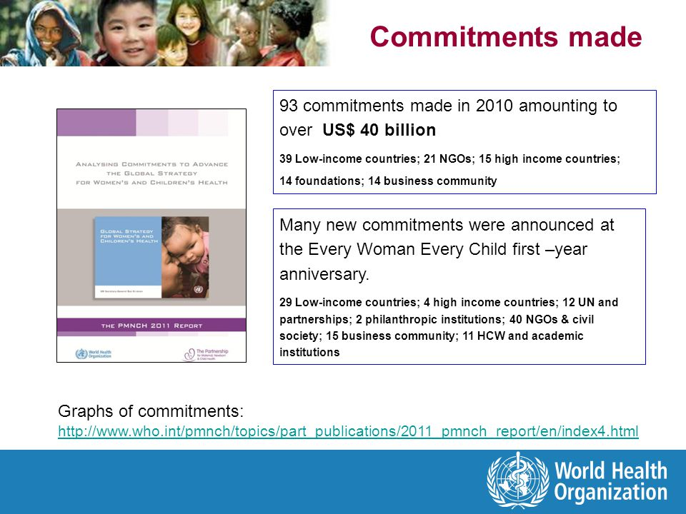 Commitments made 93 commitments made in 2010 amounting to over US$ 40 billion. 39 Low-income countries; 21 NGOs; 15 high income countries;