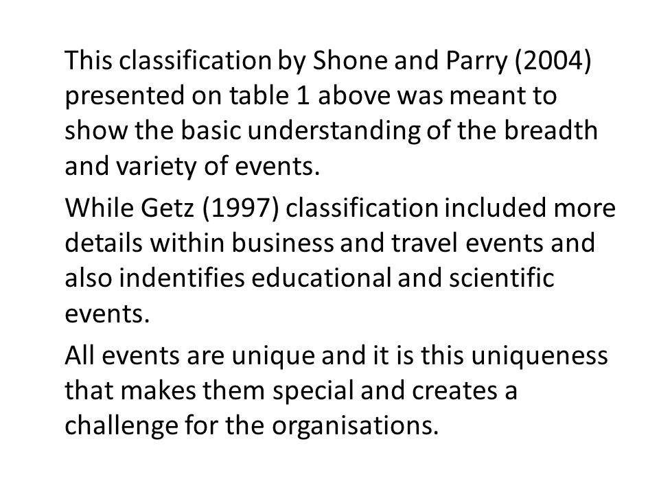 This classification by Shone and Parry (2004) presented on table 1 above was meant to show the basic understanding of the breadth and variety of events.