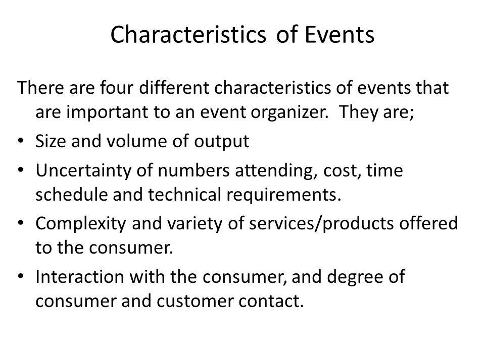 Characteristics of Events