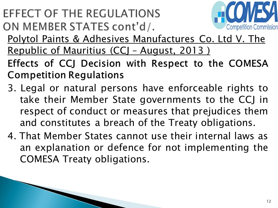 EFFECT OF THE REGULATIONS ON MEMBER STATES cont'd/.