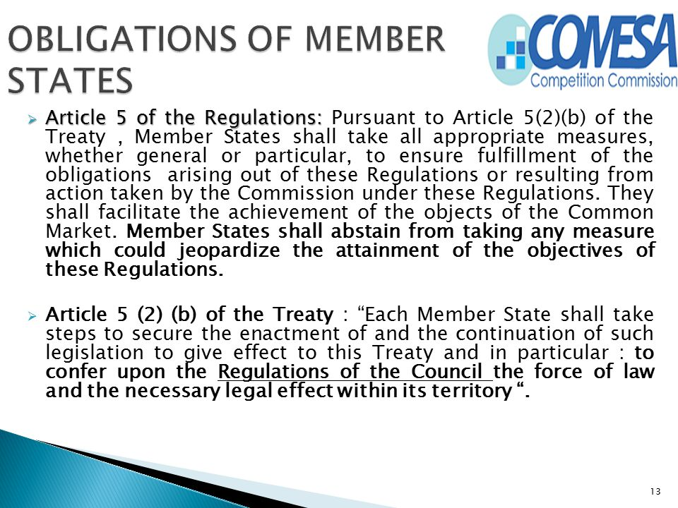 OBLIGATIONS OF MEMBER STATES