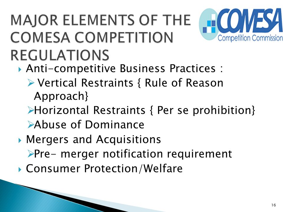 MAJOR ELEMENTS OF THE COMESA COMPETITION REGULATIONS