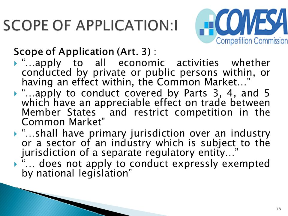 SCOPE OF APPLICATION:I