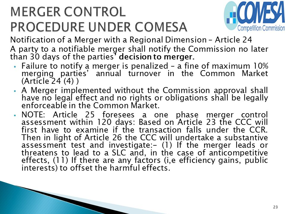 MERGER CONTROL PROCEDURE UNDER COMESA