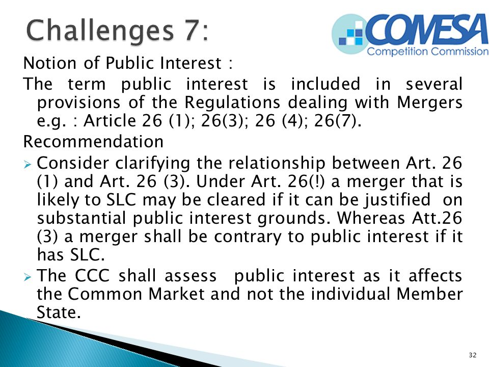 Challenges 7: Notion of Public Interest :