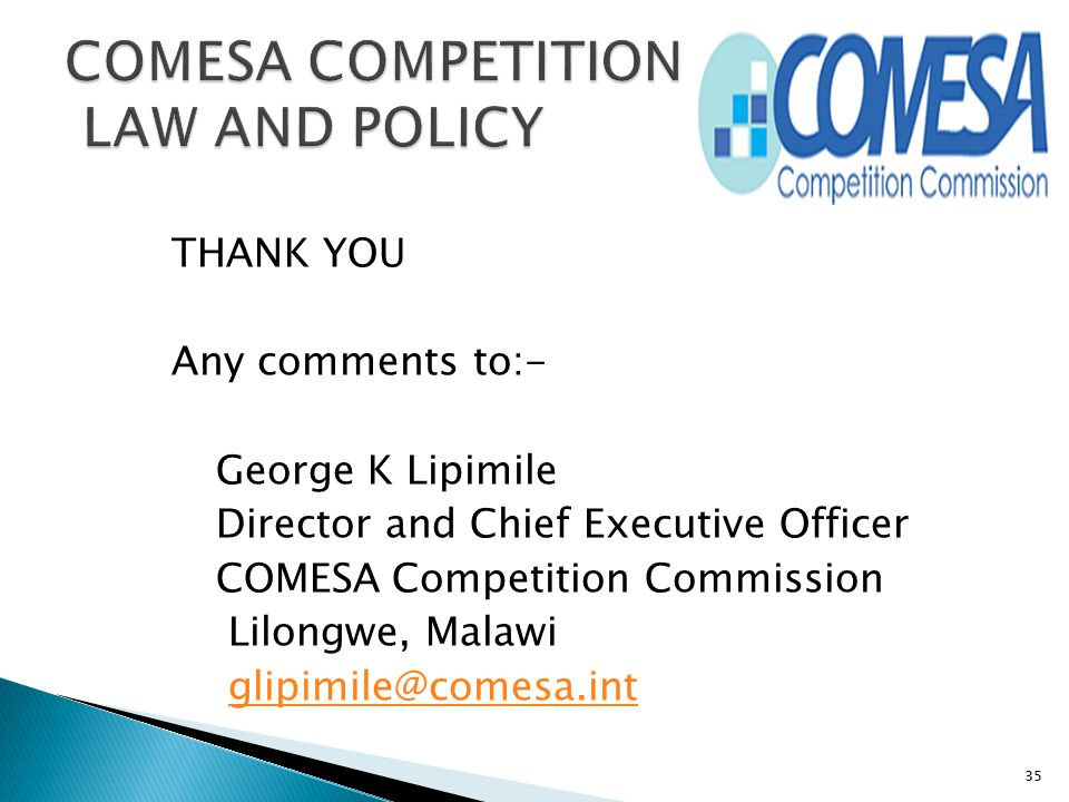 COMESA COMPETITION LAW AND POLICY