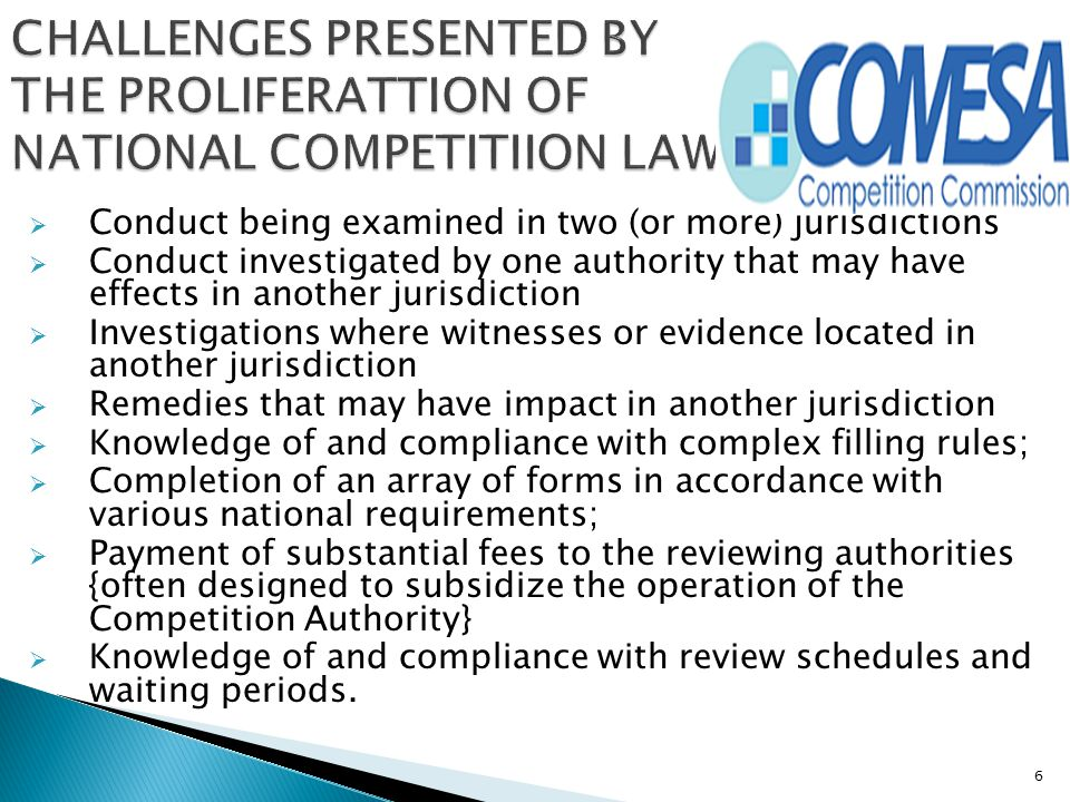 CHALLENGES PRESENTED BY THE PROLIFERATTION OF NATIONAL COMPETITIION LAWS-