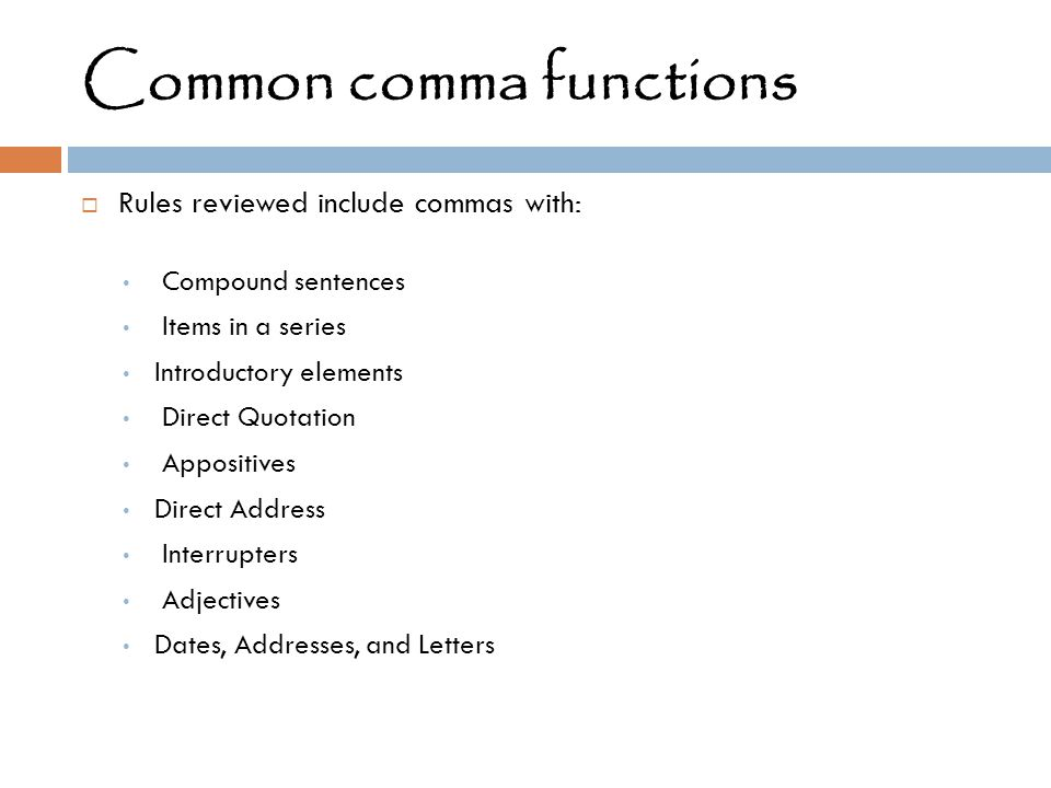 Common comma functions