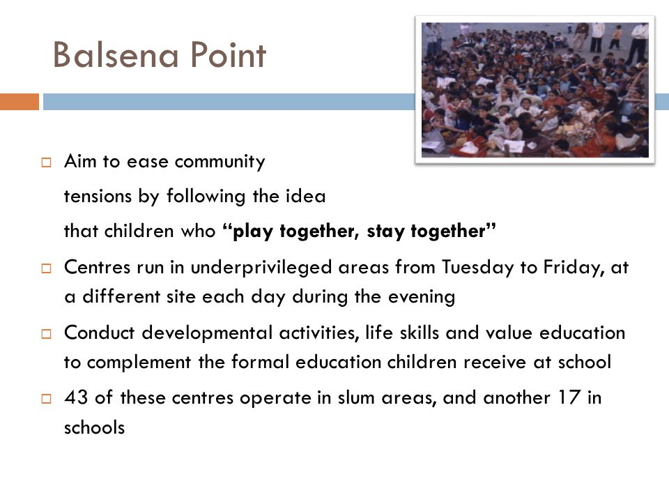 Balsena Point Aim to ease community tensions by following the idea
