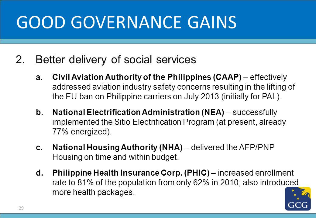 GOOD GOVERNANCE GAINS Slide Title Better delivery of social services