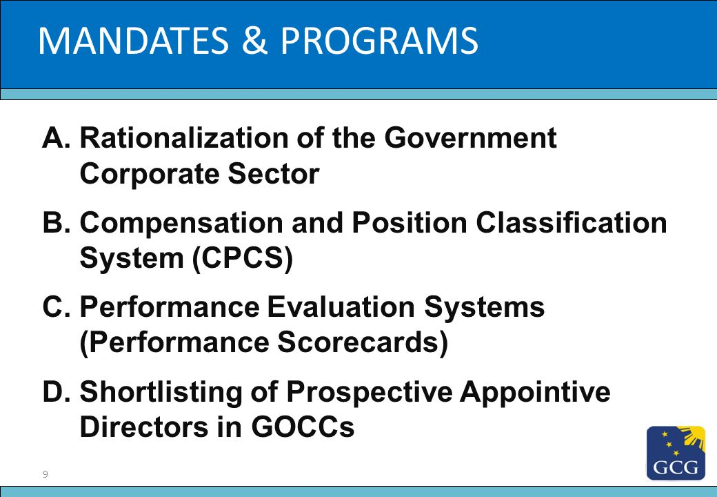 MANDATES & PROGRAMS Slide Title