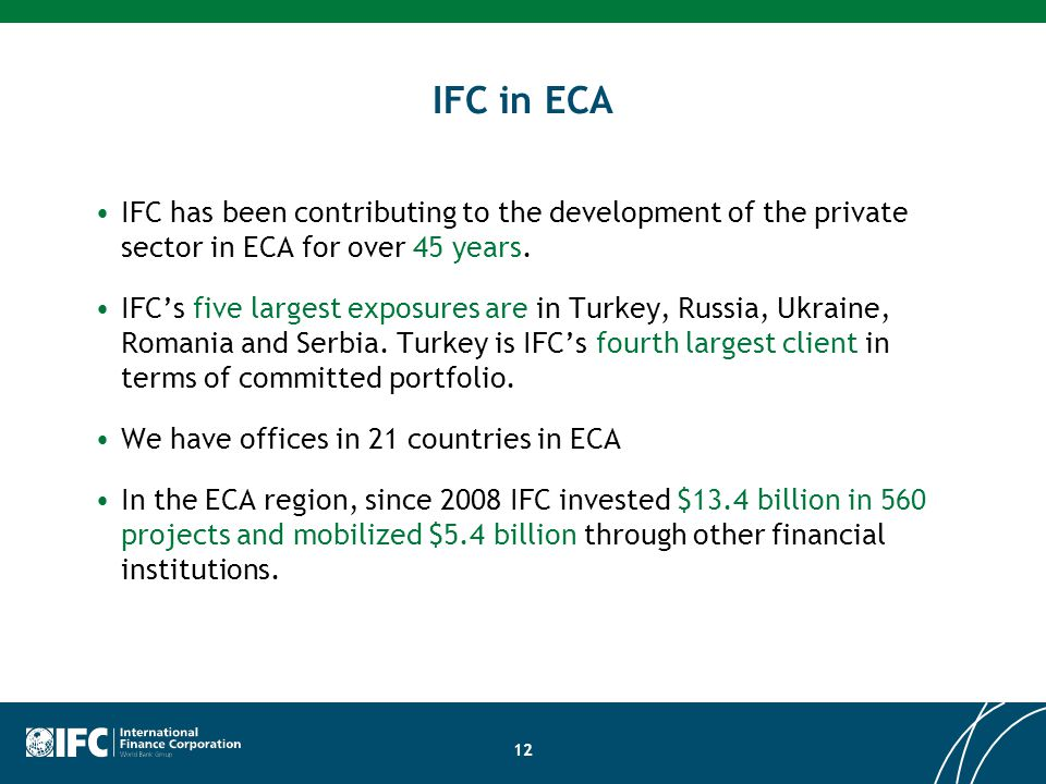 IFC in ECA IFC has been contributing to the development of the private sector in ECA for over 45 years.