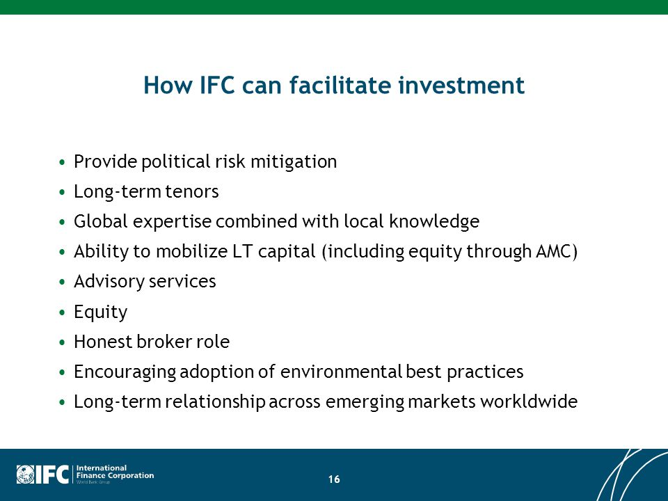 How IFC can facilitate investment