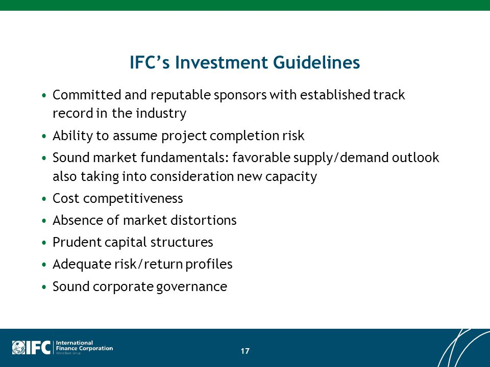 IFC's Investment Guidelines