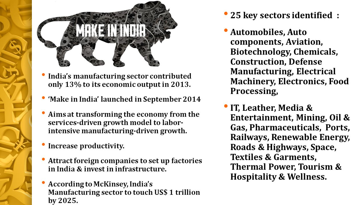 25 key sectors identified :