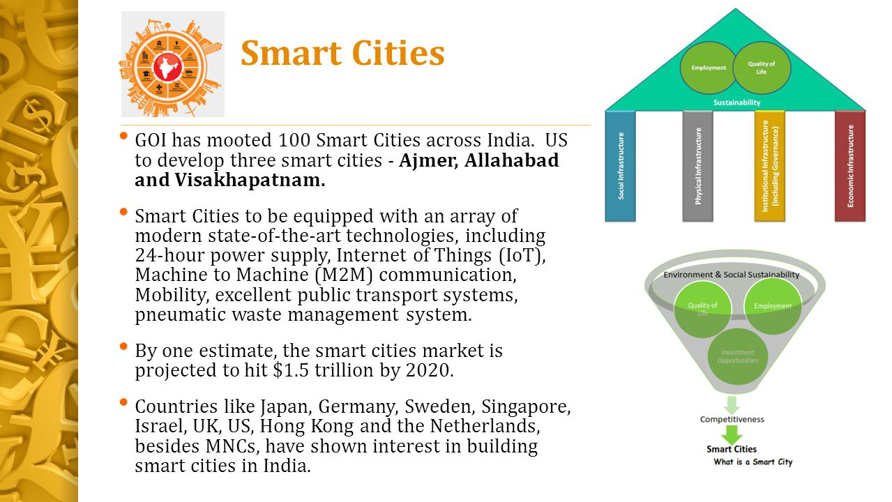Smart Cities GOI has mooted 100 Smart Cities across India. US to develop three smart cities - Ajmer, Allahabad and Visakhapatnam.