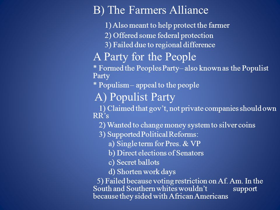 B) The Farmers Alliance 1) Also meant to help protect the farmer
