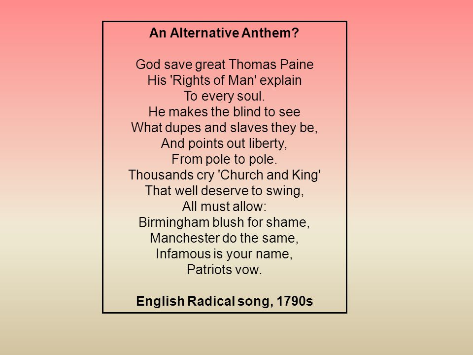 An Alternative Anthem English Radical song, 1790s