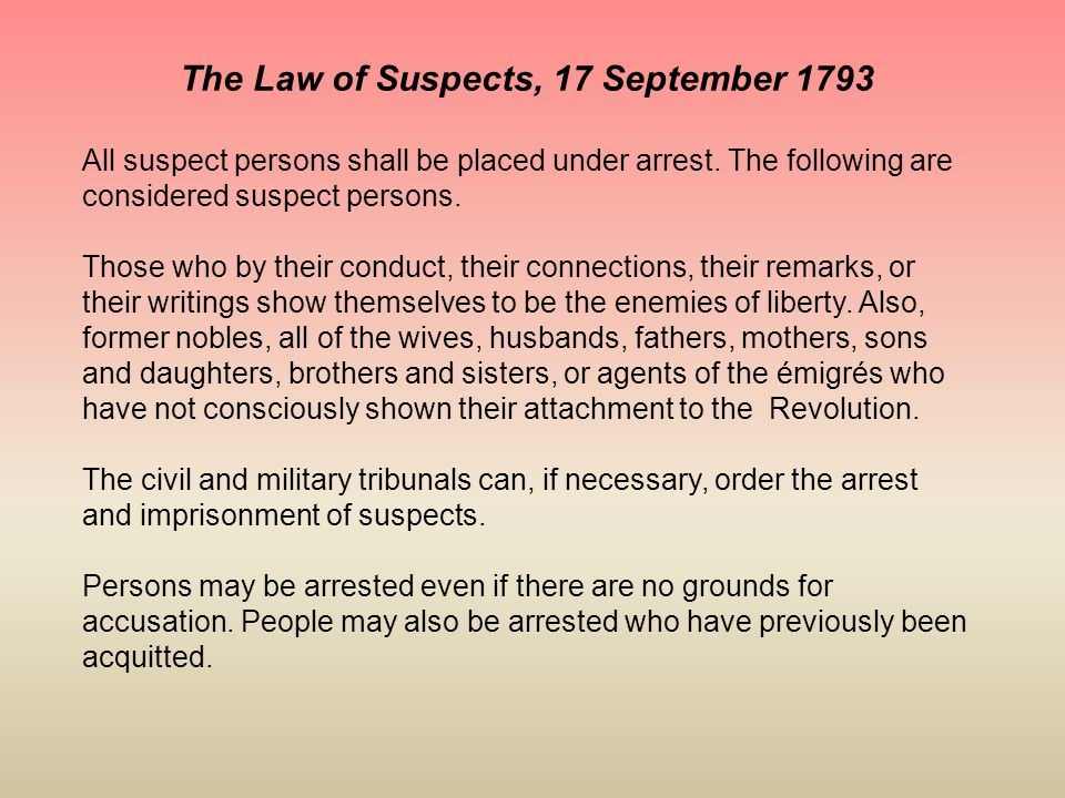 The Law of Suspects, 17 September 1793