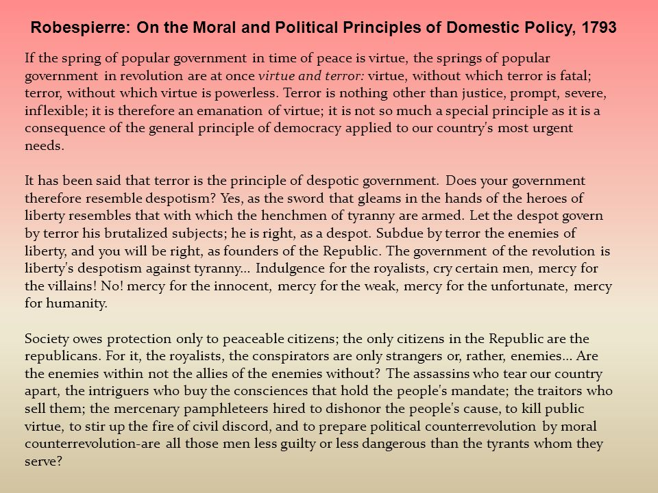 Robespierre: On the Moral and Political Principles of Domestic Policy, 1793
