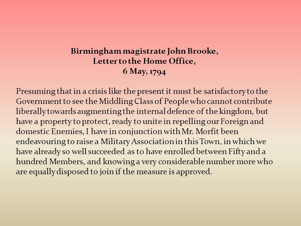 Birmingham magistrate John Brooke, Letter to the Home Office,