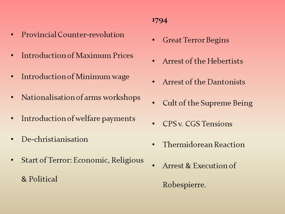 1794 Great Terror Begins. Arrest of the Hebertists. Arrest of the Dantonists. Cult of the Supreme Being.
