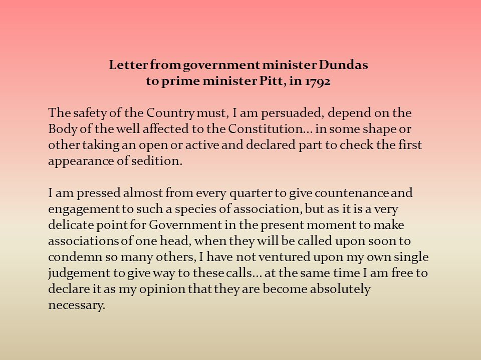 Letter from government minister Dundas to prime minister Pitt, in 1792