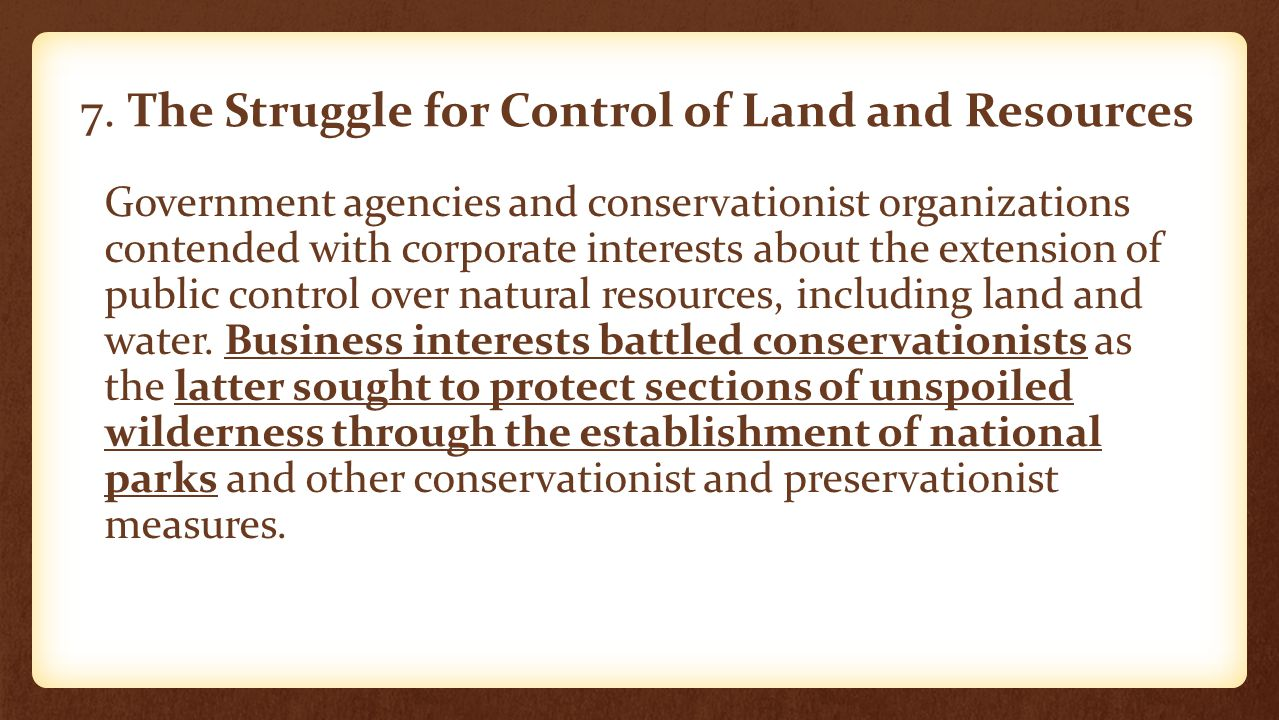 7. The Struggle for Control of Land and Resources