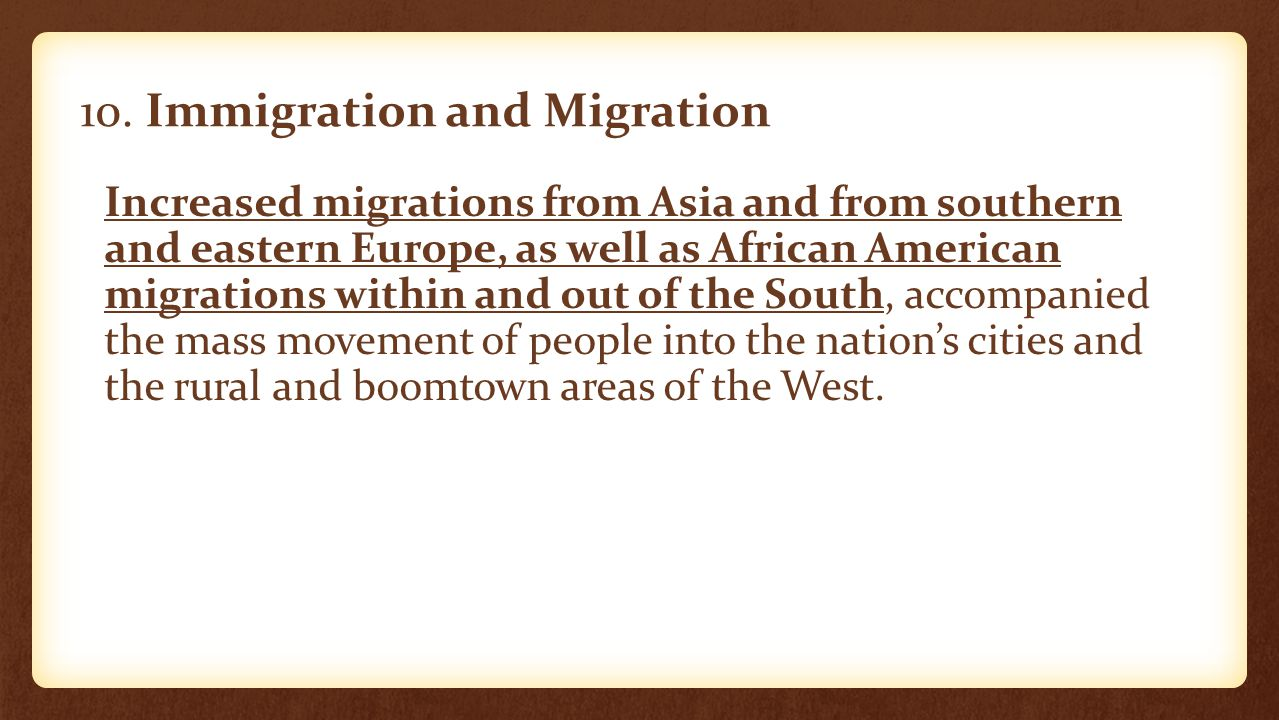 10. Immigration and Migration