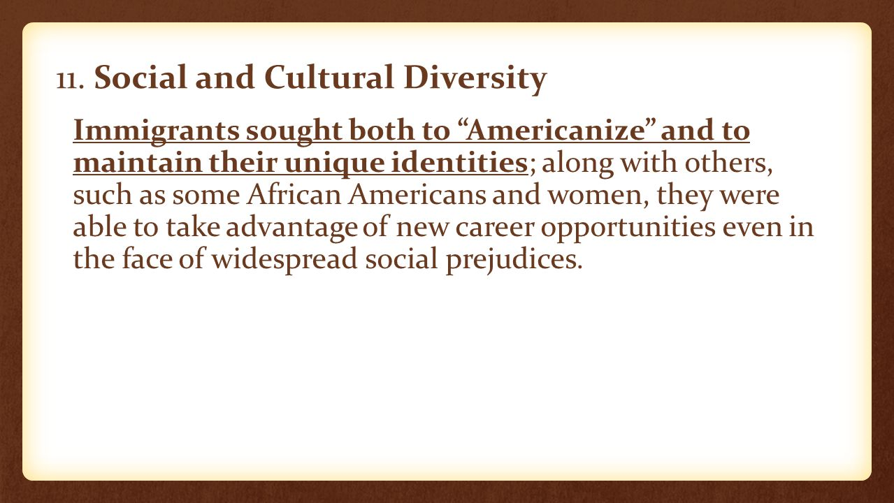 11. Social and Cultural Diversity
