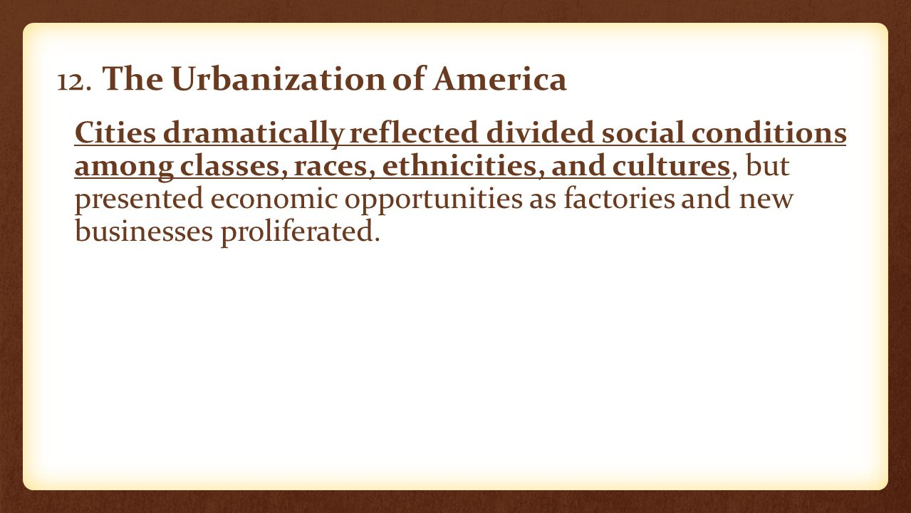 12. The Urbanization of America