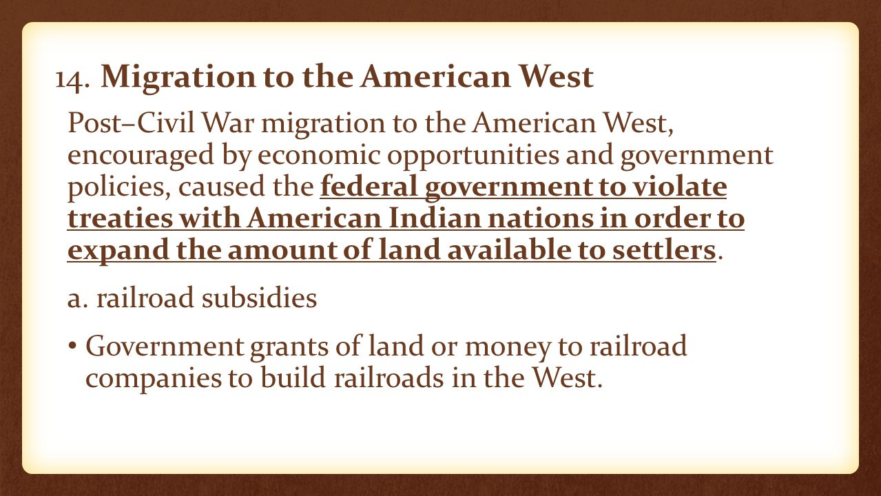 14. Migration to the American West