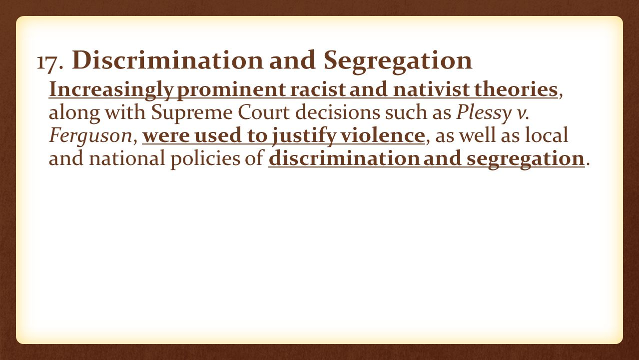 17. Discrimination and Segregation