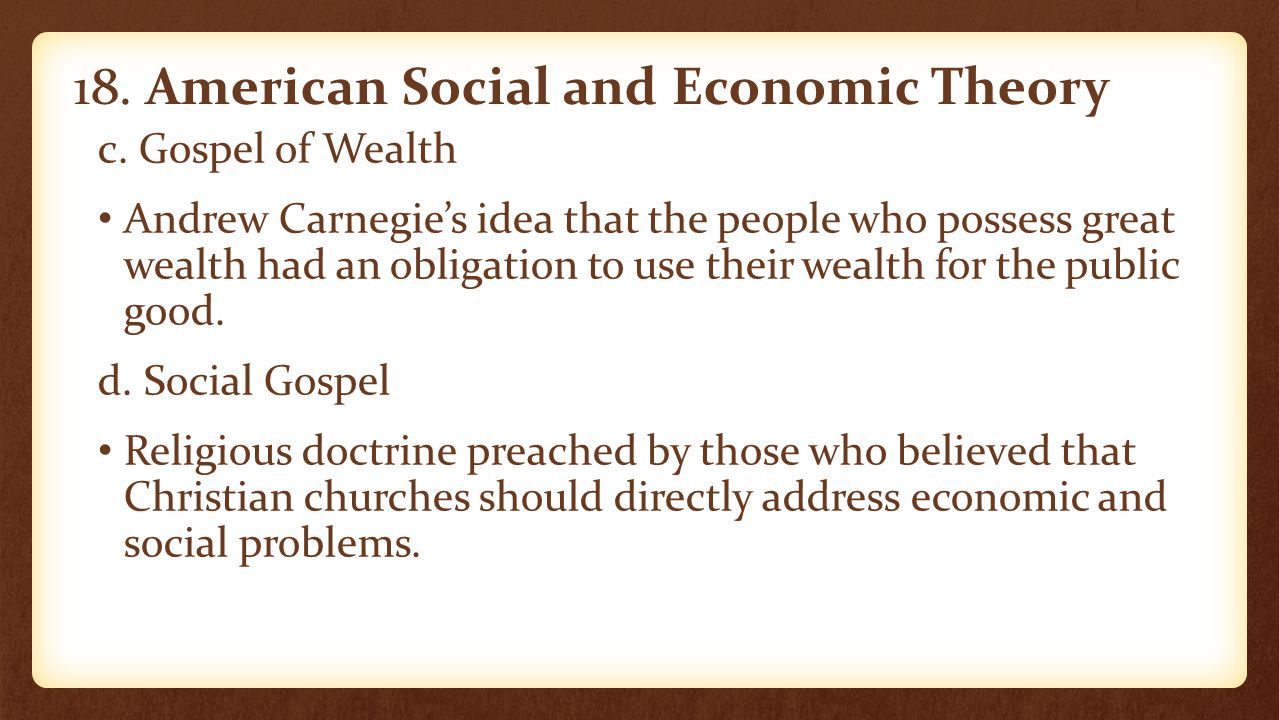 18. American Social and Economic Theory
