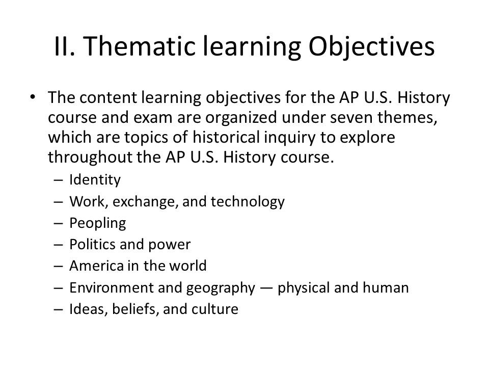 II. Thematic learning Objectives