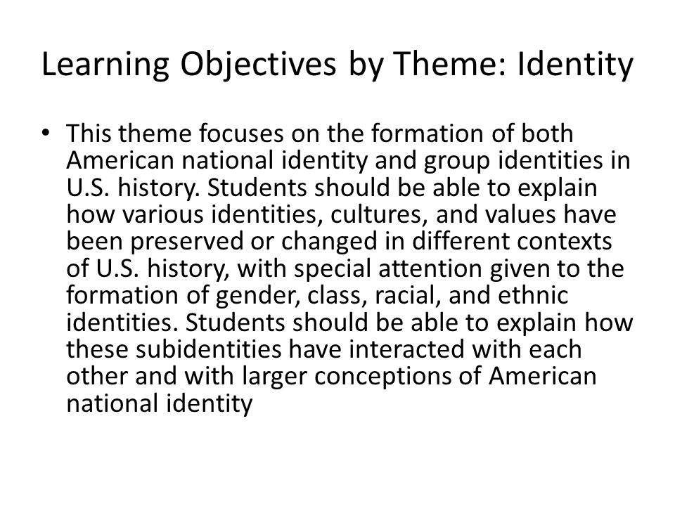 Learning Objectives by Theme: Identity
