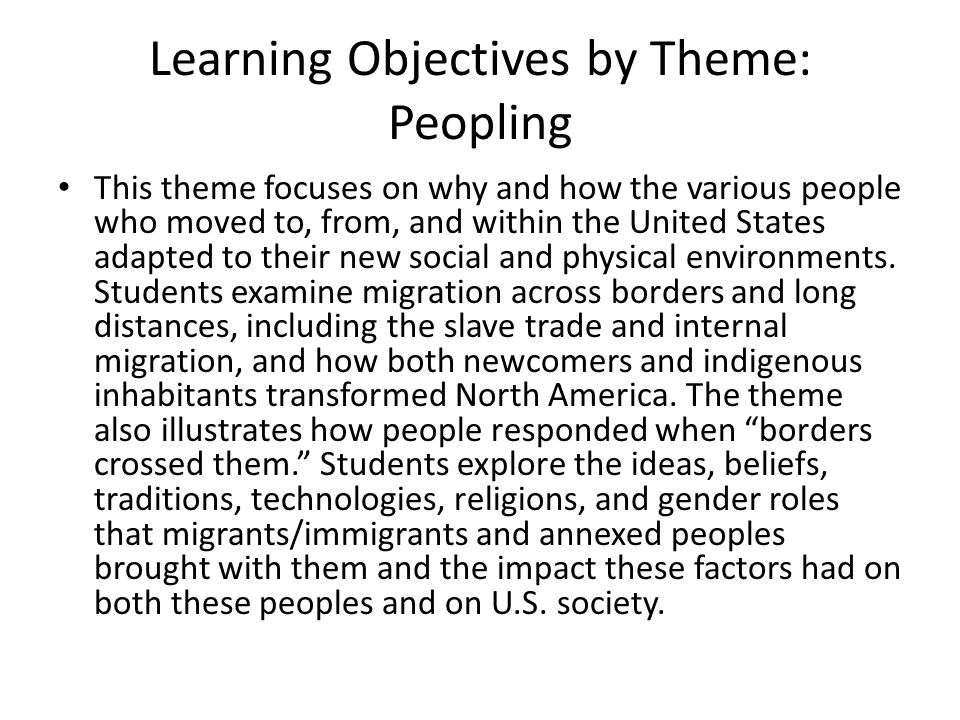 Learning Objectives by Theme: Peopling