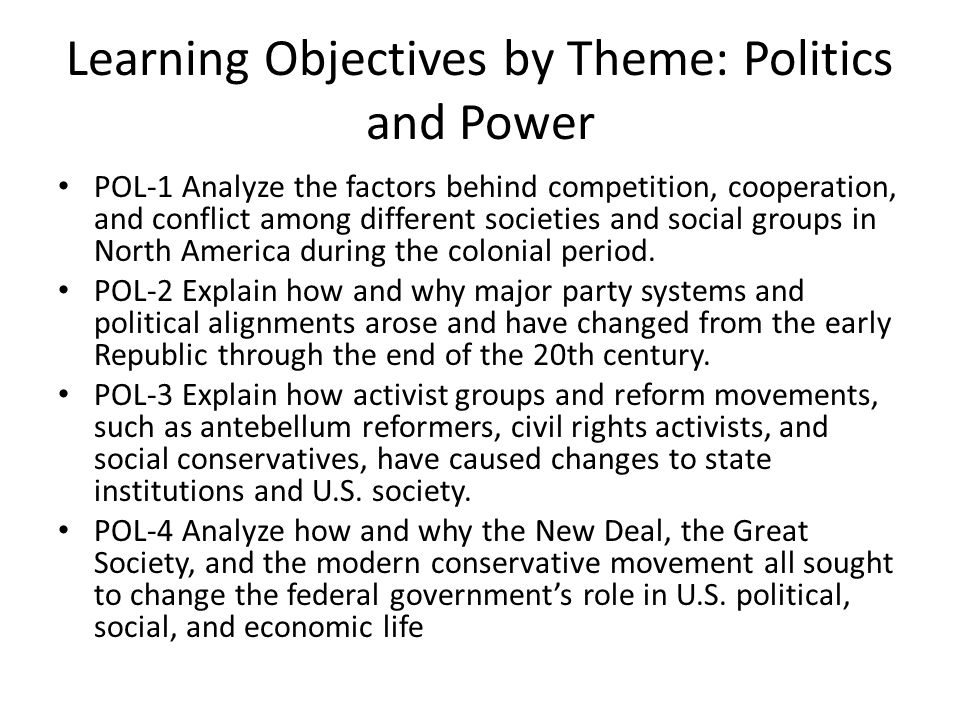 Learning Objectives by Theme: Politics and Power