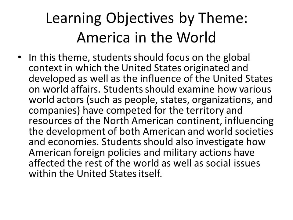 Learning Objectives by Theme: America in the World