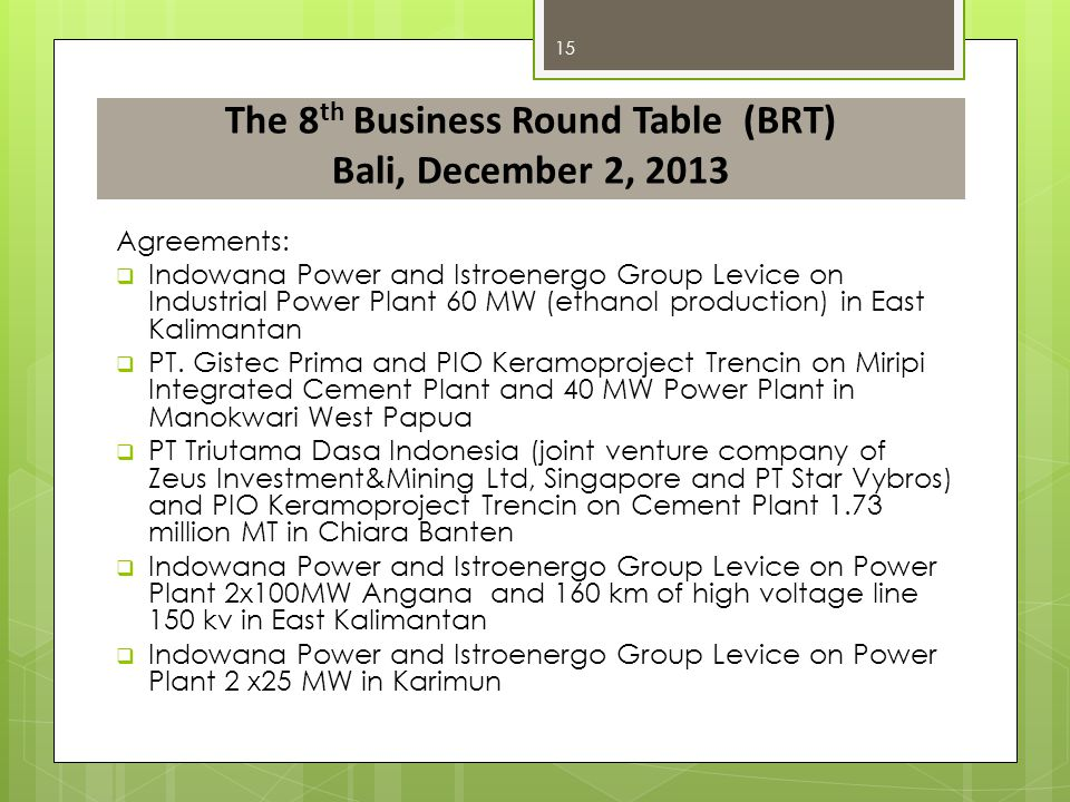 The 8th Business Round Table (BRT) Bali, December 2, 2013