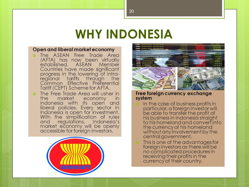WHY INDONESIA Open and liberal market economy