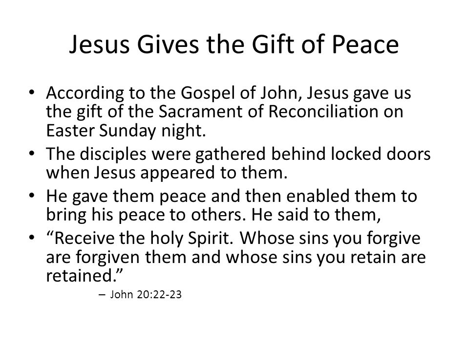 Jesus Gives the Gift of Peace