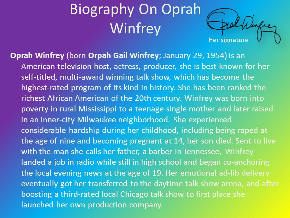 Biography On Oprah Winfrey