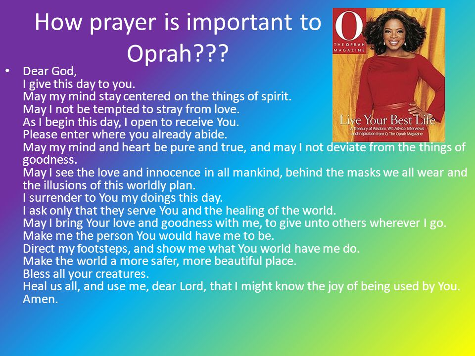 How prayer is important to Oprah