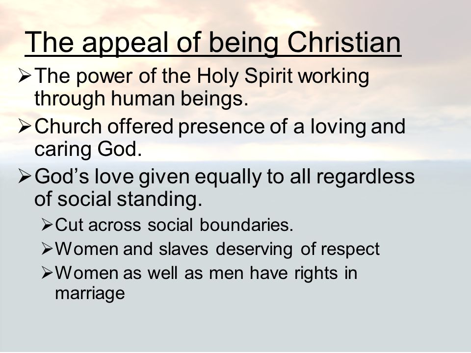 The appeal of being Christian