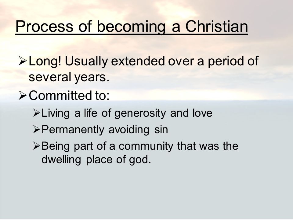 Process of becoming a Christian