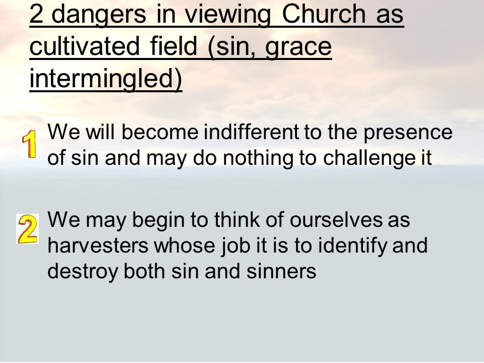 2 dangers in viewing Church as cultivated field (sin, grace intermingled)