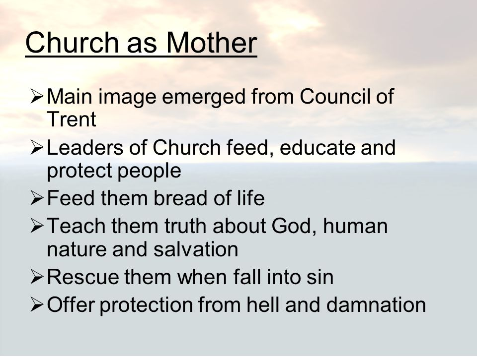 Church as Mother Main image emerged from Council of Trent